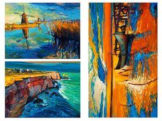 3 Oil Painted Nautical Prints printed on one sailcloth piece for home décor wall art print. Unique Textile Printing http://www.amazon.com/dp/B00VQP1MLE/ref=cm_sw_r_pi_dp_xF8nwb0MPJDHH