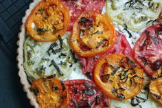 from Delicious Dishings an amazing heirloom tomato and goat cheese tart.