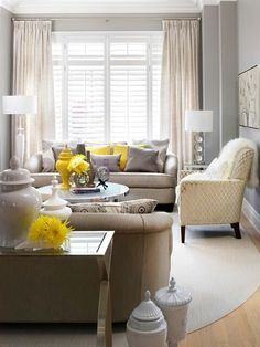 Grey and yellow lounge