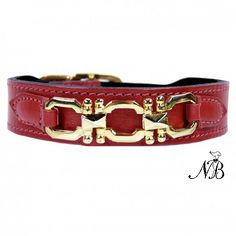 Georgia Rose Dog Collar & Leash - Ferrari Red & Gold | Neiman Barkus, Handcrafted in the USA. Adorned with an angular three link icon in 22 karat gold plate on this handmade leather dog collar and leash. * Click here for more info *