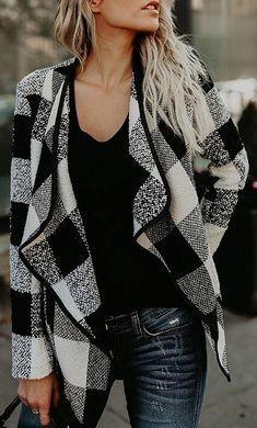 Black Plaid Lapel Open Front Long Sleeve Coat