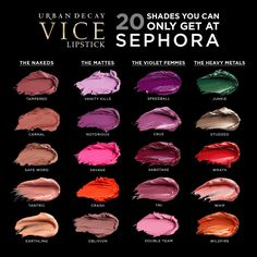 Shop Urban Decay's Vice Lipstick at Sephora. This innovative lip formula, in an array of shades and finishes, gives an unbelievable laydown of color. Sephora Lipstick, Lipstick Art, Lipstick Swatches, Makeup Swatches, Makeup Dupes, Makeup Geek, Love Makeup, Lipstick Colors, Beauty Makeup