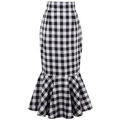 Black White Plaid Mermaid Midi Skirt ($34) ❤ liked on Polyvore featuring skirts, white black skirt, plaid midi skirt, tartan plaid skirt, mid calf skirts and calf length skirts