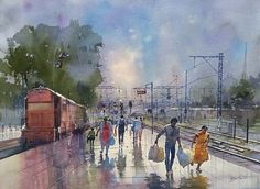The Ticket Examiner Who Paints Beautiful Images Of The Indian Railways - Bijay Biswaal Watercolor Artists, Watercolor Landscape, Landscape Paintings, Watercolor Paintings, Watercolors, Landscapes, Indian Art Paintings, Cool Paintings, Train Drawing
