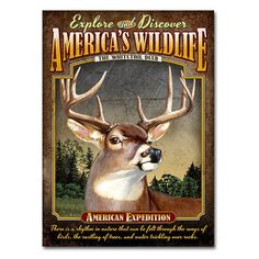 American Expedition Whitetail Deer Tin Sign Magnet