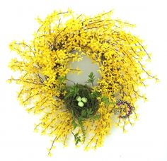 Forsythia Wreath with Bird's Nest, Yellow Spring Wreath