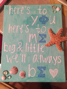 Sorority crafts : big little beach canvas, Phi Sigma Sigma letters #DIY