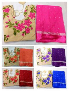 Saree stuff: pure Georgette with pearls pasted all over saree with Designer embroedary blouse on velvet stuff max Pure Georgette Sarees, Chiffon Saree, Shibori Sarees, Brocade Blouses, Work Sarees, City Style, Saree Blouse, Indian Wear, Blouse Designs