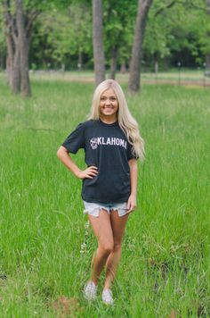 Charcoal Unisex Oklahoma Tee available at J. Lilly's Boutique or jlillysboutique.com