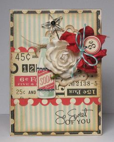 ♥ the muted tones of the beautiful handmade card ...