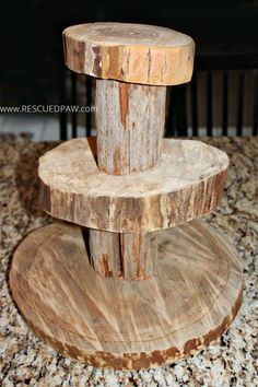 DIY Wood cupcake stand!! Great for Rustic or Woodland Parties!