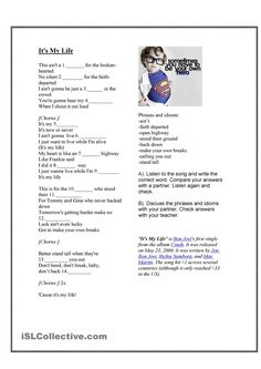 Song -It's My Life - Present Simple worksheet - Free ESL printable worksheets made by teachers English Activities, Music Activities, Classroom Activities, English Tips, English Lessons, Learn English, Cursive Writing Worksheets, Worksheets For Kids, Printable Worksheets