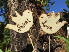 """Personalize Wedding Cake Topper  Rustic Wooden Birds Quote """"Sweet Love"""" Add Your Wedding Date"""
