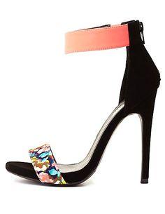 Floral Color Block Single Strap Heels: Charlotte Russe #charlotterusse #charlottelook