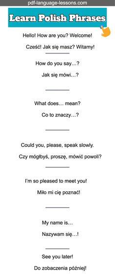 Learn Polish: 23 Useful Polish Phrases for Everyone Learn Polish, Carol Songs, Polish Clothing, Learning Languages Tips, Polish Words, Polish Memes, Polish Language, Language Lessons, Polish Recipes