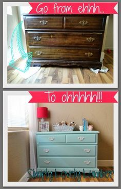 Find out how to refinish a dresser without sanding! This site has tons of great DIY tips!