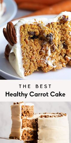 The Best Healthy Carrot Cake You'll Ever Eat (gluten free & paleo-friendly!) The BEST moist healthy carrot cake you'll ever eat made with almond and coconut flour and naturally sweetened with pure map Gluten Free Carrot Cake, Healthy Carrot Cakes, Gluten Free Cakes, Gluten Free Recipes, Coconut Flour Carrot Cake Recipe, Almond Meal Cake, Sugar Free Carrot Cake, Carrot Banana Cake, Best Gluten Free Desserts