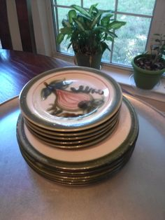 John B. Taylor Ceramics Harvest. 5 salad plates. 5 bread and butter. Early mark