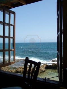 Ocean view from window Stock Photo selain memanjakan mata, deruan ombak… Window View, Open Window, Photo Window, Beautiful World, Beautiful Places, Cottages By The Sea, House By The Sea, Looking Out The Window, Through The Window
