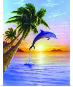 Dolphin Jumping Out of Water at Sunset Tropical Art Scene Poster Print Dolphin Drawing, Dolphin Painting, Dolphin Art, Wall Art Prints, Poster Prints, Art Posters, Dolphins Tattoo, Sunset Art, Jolie Photo