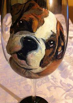 Dog Portrait Wine Glass on Etsy, $65.00