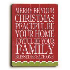 Merry Peaceful Joyful Wood Sign
