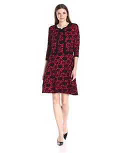 Taylor Dresses Womens Rose Printer Sweater Dress with Cardigen Set CrimsonBlack Large >>> Want additional info? Click on the affiliate link Amazon.com on image.