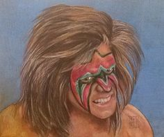 Subject: James Brian Hellwig AKA Ultimate Warrior Nancy Thomas, portrait  9x12 Medium: Colored Pencils  2015 Private collection Mr Perfect, Wwe Wrestlers, Colored Pencils, Legends, Halloween Face Makeup, Portraits, Wrestling, Posters, Medium