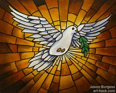 """Listed at 50% off today only! Stained Glass Peace Dove """"Spirit"""" 20 x 16 Original Abstract Painting by Jason Burgess"""