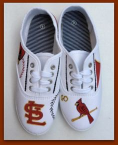 St.+Louis+Cardinals+Sneakers+Size+8+Ready+to+ship+by+StoneThicket,+$65.00