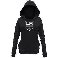 Women s Los Angeles Kings New Era Black Core Brushed Fleece Pullover Hoodie  La Kings Hockey 806c38031