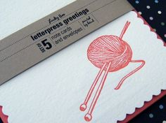 Letterpress Notecard Set  Yarn by LuckyBeePress on Etsy, $15.00