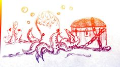 Small Octopus doodle with POPART filter