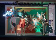 Debenhams Summer 16. Collaboration with London illustrator - Josh McKenna David Hockney Paintings, Bar Interior Design, Shop Window Displays, Display Window, Tropical Interior, Retail Store Design, Debenhams, Visual Merchandising, Marmi