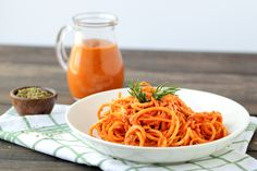 Quick No cook Sun dried tomato sauce with butternut squash noodles