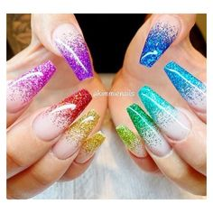 Rainbow Nails ❤ liked on Polyvore featuring beauty products, nail care and nail treatments