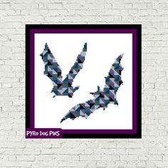 Geometric Bats Cross Stitch Pattern, Modern Cross Stitch Pattern Sampler - Instant Download PDF by PyroDogPins on Etsy https://www.etsy.com/listing/256595017/geometric-bats-cross-stitch-pattern