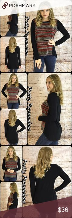 "NWT Black & Tribal Patterned Pullover Knit Sweater NWT Black & Rust Tribal Patterned Pullover Knit Sweater   Available in S, M, L Measurements taken from a small  Length: 32"" Bust: 40"" Waist: 40""  Made in the USA Rayon/Spandex/Poly Blend   Features  • tribal design on front in rust combo  • solid black sleeves & back • soft, breathable material  • relaxed, easy fit  Bundle discounts available  No pp or trades  Item # 1/101280360BRS light pull over sweater soft Pretty Persuasions Sweaters"