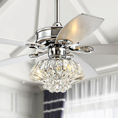 Shop for Dalinger Chrome Lighted Ceiling Fan with Globe Crystal Shade (incl. Get free delivery On EVERYTHING* Overstock - Your Online Ceiling Fans & Accessories Store! Ceiling Fan Chandelier, Ceiling Lights, Bedroom Ceiling Fan Light, Chandeliers, Bedroom Fan, Master Bedroom, Bedroom Ideas, Bedroom Stuff, Bedroom Decor