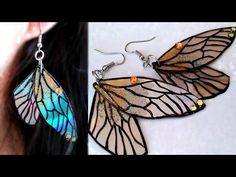 DIY: Fairy Wings Earrings // Recycle DVDs - YouTube