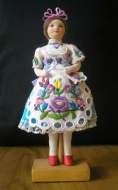 Original handmade china doll from Uszód, Hungary. Hand-embroidered blouse and… China Dolls, Hand Puppets, Embroidered Blouse, Traditional Dresses, Beautiful Hands, Hungary, Hand Embroidery, Teddy Bear, Craft Ideas