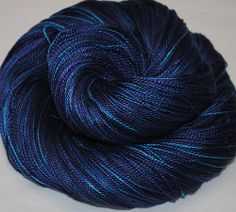 Hand Dyed Mulberry Silk Lace weight  Duke blue  by BalDesFleurs, £8.20
