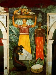 Diego Rivera (Mexican, 1886 - 1957).  Tehuana Women, 1923. Ministry of Education, Mexico City.
