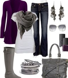 jeans, gray boots, purple cardigan