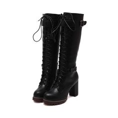 SheIn(sheinside) Black High Block Heel Lace Up High Boots ($53) ❤ liked on Polyvore featuring shoes, boots, black, winter boots, black knee-high boots, lace up boots, black platform boots and chunky platform boots