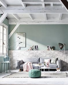 Pastel and marble living room with light blue accessories / grey couch / white wooden floor Home Living Room, White Wooden Floor, Interior, Home, Pastel Interior, Home Deco, Pastel Living Room, Interior Design, Home And Living
