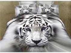 3D White Tiger Printed Cotton 4-Piece Bedding Sets/Duvet Covers