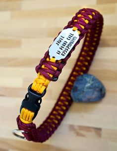 Paracord Dog Collar with Hand Stamped ID Pet Tag by by CobraBand