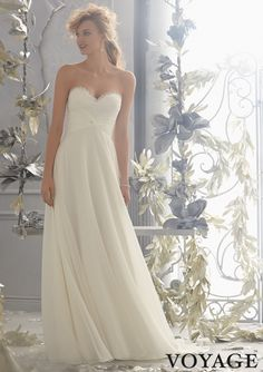 Informal Wedding Dress From Voyage By Mori Lee Dress Style 6783 Diamante Beading Edges the Embroidered Lace on this Delicate Chiffon Wedding Dress