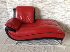 #1829 - Leather Chaise - Red/Black